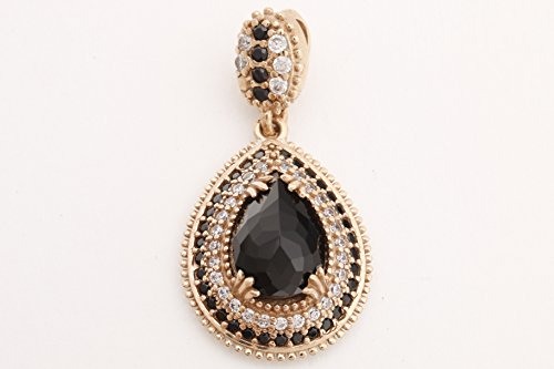 - Turkish Handmade Jewelry Drop Shape Pear Cut Black Onyx and Round Cut Topaz 925 Sterling Silver Pendant