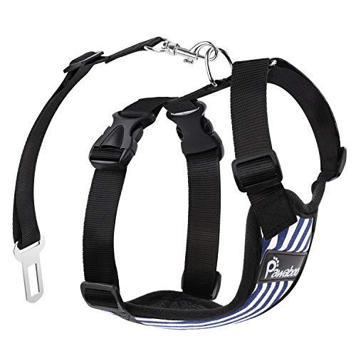 PAWABOO Dog Safety Vest Harness, Pet Dog Adjustable Car Safety Mesh Harness Travel Strap Vest with Car Seat Belt Lead Clip, Large Size, Blue and White Stripes