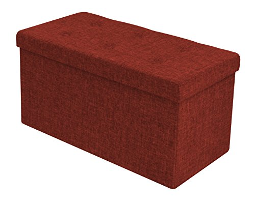 Sorbus Storage Ottoman Bench – Collapsible/Folding Bench Chest with Cover – Perfect Toy and Shoe Chest, Hope Chest, Pouffe Ottoman, Seat, Foot Rest, – Contemporary Faux Linen (Medium, Red)