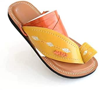 Nebras brown and yellow Thong Slipper for men