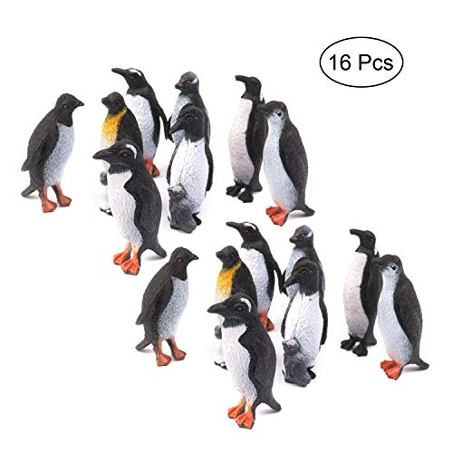 willway Penguin Action Figurine, 16 Pcs Plastic Ocean Animal Penguin Model for Kids Children, Perfect for School Project and Class