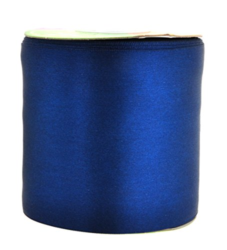 Mandala Crafts Fabric Satin Ribbon for Hair Bow Making, Sewing, Gift Wrapping, Flower Bouquets, Party Decorating, and Weddings (3 Inches 25 Yards, Navy Blue)
