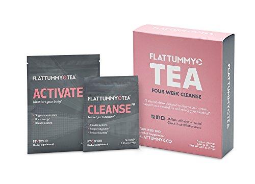 Four Tea - Flat Tummy Tea 4-Week Detox Herbal Tea To Help Kick That Bloated and Sluggish Feeling