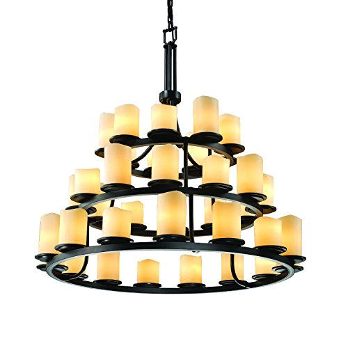 - Justice Design Group CandleAria 36-Light Chandelier - Matte Black Finish with Cream Faux Candle Resin Shade