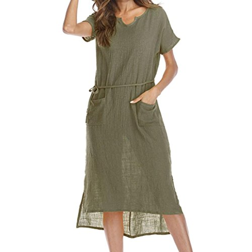 Casual Short Sleeve Dress SanCanSn Women Summer Large Size Casual V-Colla Loose Pocket Waist Hem Asymmetrical Dress(Green ,M) by SanCanSn Dress
