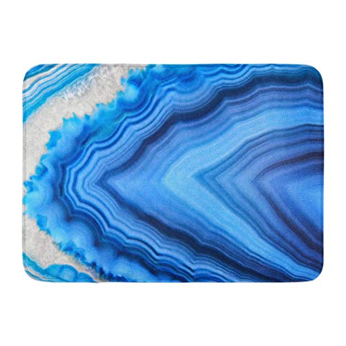 Koperororo Doormats Bath Rugs Outdoor/Indoor Door Mat Amazing Blue Agate Crystal Cross Section Natural Translucent Abstract Structure Slice Mineral Stone Macro Bathroom Decor Rug 16