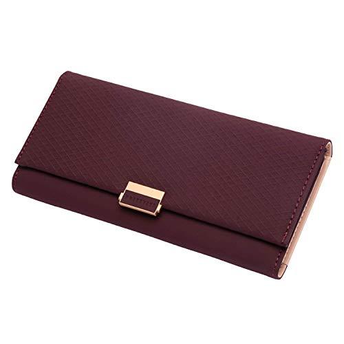 Fashion Gifts Plaid Wallet Zipper Ladies Change Women Credit Phone Card Holder Coin Purses Girls,Burgundy