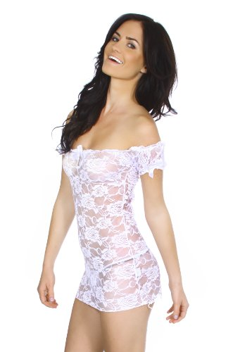 Simplicity Stretch Lace Styled Babydoll Worn Off the Shoulder with Thong Set