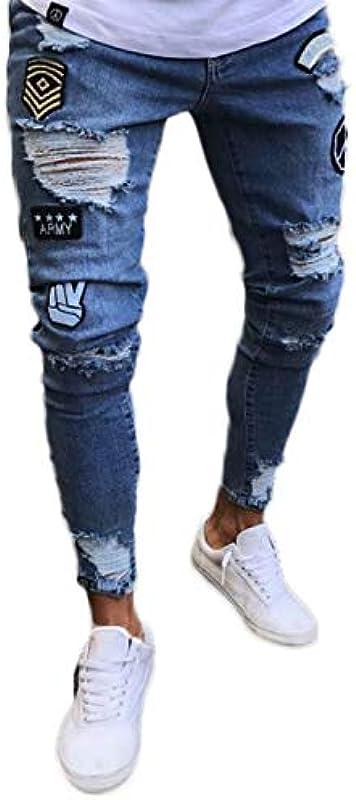 Pizoff Męskie dżinsy skinny z rysami na kolanach: Odzież