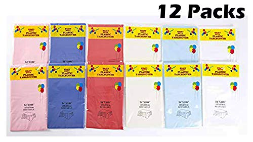 Disposable Plastic Tablecloth Assorted Color 12 Packs 54