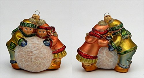 Children With Snowball - German Blown Glass - Lauscha Germany