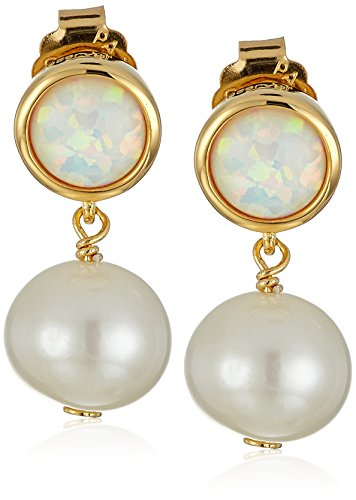 - 18k Gold Plated Sterling Silver Created Opal and Freshwater Cultured Pearl Drop Stud Birthstone Earrings