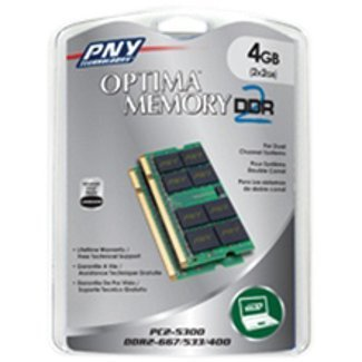 PNY OPTIMA 4GB (2x2GB) Dual Channel Kit DDR2 667 MHz PC2-5300 Notebook / Laptop SODIMM Memory Modules MN4096KD2-667 (Memory Pentium 2gb Celeron 4)