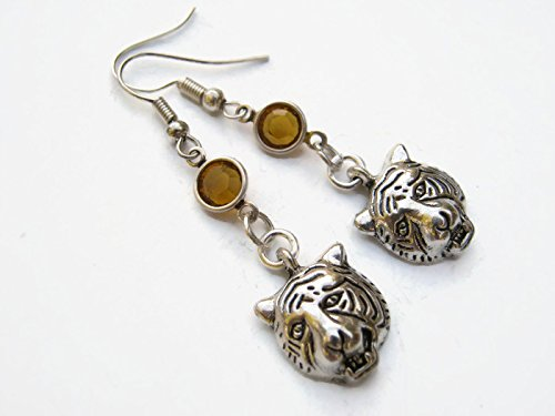 Growling Tiger Birthstone Earrings, Personalized Zoo Earrings, Wild Animal Earrings, Exotic - Tiger Growling