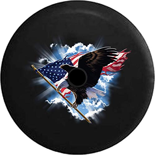 JL Series Jeep Spare Tire Cover with Backup Camera Hole American Eagle Carrying American Flag Through The Sky USA Patriotic Black 33 in