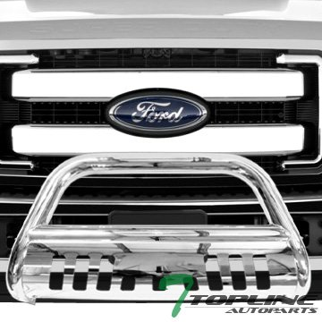 Topline Autopart Stainless Steel Chrome HD Heavyduty Bull Bar Brush Push Front Bumper Grill Grille Guard V2 w/ Skin Plate 11-16 Ford F250 F350 F450 F550 Superduty
