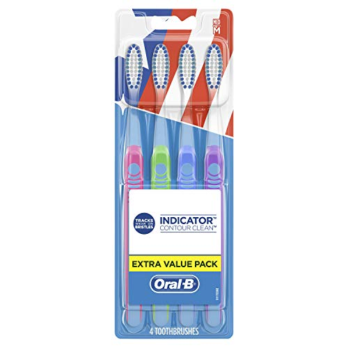 Oral-b Indicator Contour Clean Toothbrushes, Extra Value Pack, Medium, 4 Count (Color May Vary)