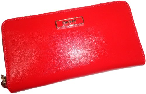 Dkny Red Leather - DKNY Womens Shiny Saffiano Leather Wallet Red