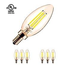 YUURTA C35 E12 3.5W Chandelier Light Bulb 3000K/4000K Vintage Retro Antique Edison LED Filaments Candelabra Base Blunt/Torpedo Tip B10 Candle for Home Ceiling Crystal Lamp Sconce Lighting Fixture 110-120V UL Listed Certified (6, 4000K)