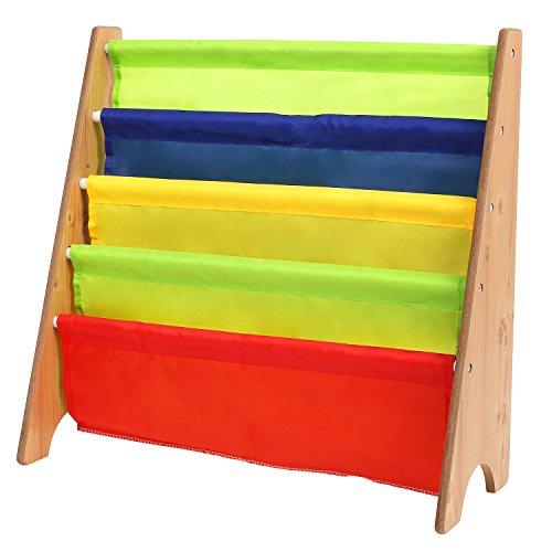 HOMFA Kids Book Rack Storage Sling Bookshelf 4 Tier For Toy Display Natural