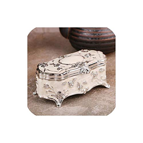 - Beauty-inside Small Size Vintage Jewellery Case Fashion Jewelry Box White Enamel Zinc-Alloy Metal Trinket Box Flower Carved Toothpick Storage