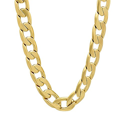 The Bling Factory Men's 9.5mm 14k Gold Plated Beveled Cuban Link Curb Chain Necklace, 36
