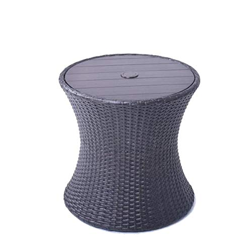 allen + roth Round Steel Brown Wicker End Table with Umbrella Hole, 20