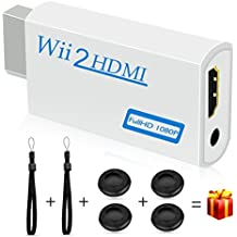 Wii HDMI Converter, kungfuren【2018 Upgraded】Wii HDMI Adapter with 3.5mm Audio Jack Support Wii to HDMI Modes NTSC 480i 480p PAL 576i to 1080P HDTV Come With Free 2 Hand Wrist Straps and 4 Button Cases