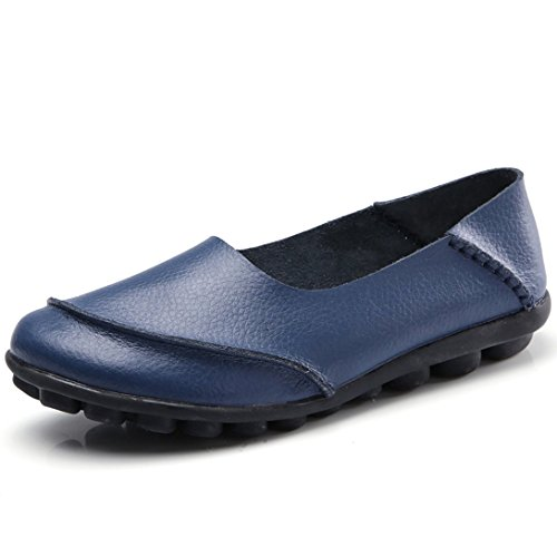(ALLY UNION MAKE FORCE Women's Soft Leather Loafers Flat Slip-on Shoes Casual Driving Boat Shoes)