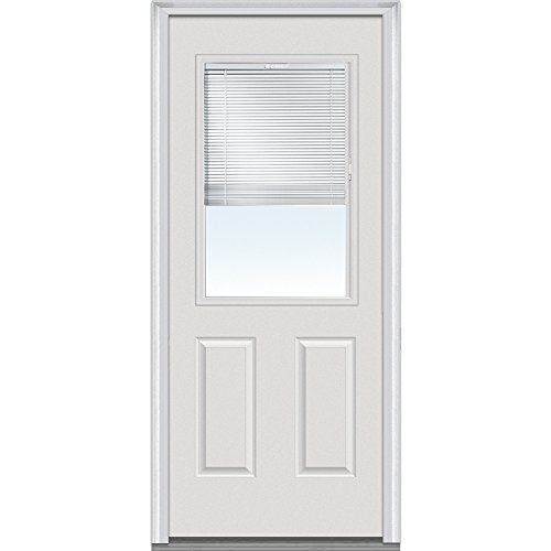 National Door Company ZFS684BLFS26L Fiberglass Smooth, Primed, Left Hand Inswing, Exterior Prehung Door, Internal Blinds, 1/2 Lite 2-Panel, 30
