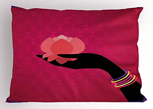 (K0k2t0 Lotus Pillow Sham, Silhouette of Woman Hand with Bangles Holding a Japanese Flower Asian Folklore Design, Decorative Standard Queen Size Printed Pillowcase, 30 X 20 inches, Multicolor)