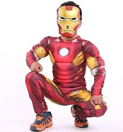 Costume Iron Man Bambino Vestito Carnevale Costumino Con Busto Muscoloso E Maschera Inclusa Busto Muscoloso Supereroe Incluso Di Maschera (Taglia L) 7-8 Anni