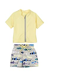 SwimZip¨ Zipper Short Sleeve Rash Guard Swimsuit Set Shark Feast Yellow