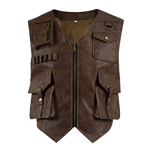 YANGGO Kids Leather Brown Youth Vest Halloween Costume Cosplay for Child (Child-L, -