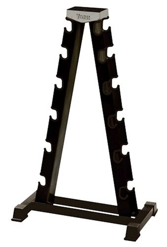 York Barbell 69002 2 Sided A-Frame Dumbbell Rack Accommodates Rubber Hex Or Chrome (Any 6 PRS. 2.5-30), Black