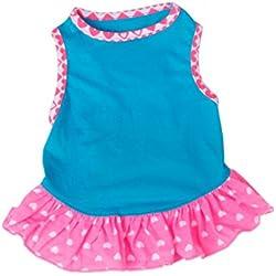 Voberry Small Dog Dress Fashion Pet Dog T-Shirt Dress Dog Cat Cute Summer Vest Skirt (XS, Blue)