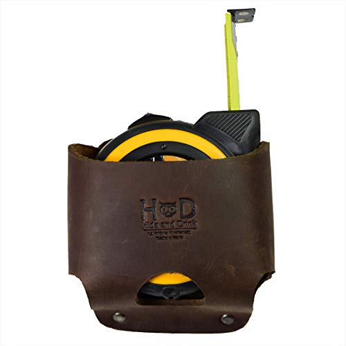 Hide & Drink, Large Leather Tape Measure Holder, Tool Holster w/ Easy Belt Loop for Handymen, Carpenters, Electricians…