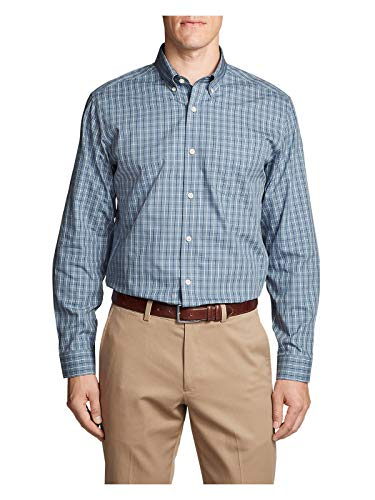 Oxford Relaxed Fit Oxford Shirt - Eddie Bauer Men's Wrinkle-Free Relaxed Fit Pinpoint Oxford Shirt - Blues, Chambr