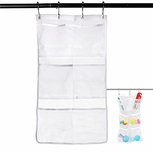 2 Pack Hanging Mesh Bath Shower Caddy Organizer Quick Dry Storage With 6 Clear