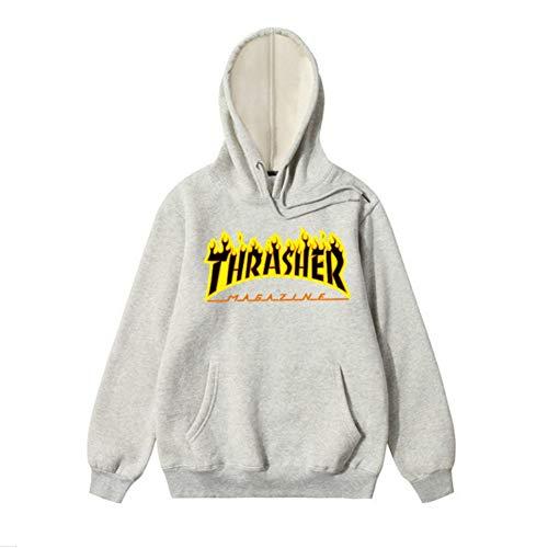 - THSM-Frist Thrasher Skate Magazine Fashion Hoodie Mens Sweater Flame Pullover Sweatshirt Grey XL