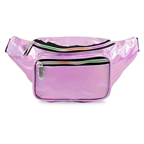 (PURE HEART Fashion Holographic Fanny Pack for Women and Men 80s Cute Waist Bag with Adjustable Strap for Running,Hiking,Festival Party,Rave,Travel (Holographic Pink))