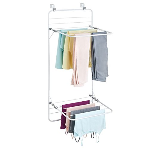 mDesign Over The Door Clothes Drying Rack - Wall Mounted Laundry Drying Rack - Double Shelf - Wall Drying Rack for Laundry Rooms - Wall Mounted Clothes Drying Rack - White/Gray