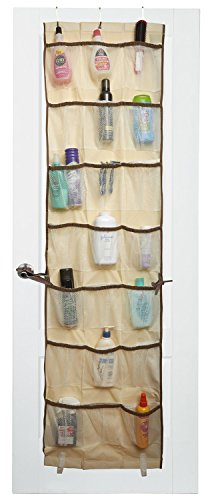 Over the Door Organizer - 42 Pockets - The beige fabric with brown trim is an attractive over door storage addition to any room. Three over the door hooks are included so there's no assembly required