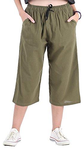 CandyHusky Womens Loose Elastic Waist Cotton Casual Capri Wide Leg Palazzo Pants (L/XL, Olive Green)