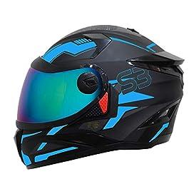 Steelbird SBH-17 Terminator Full Face Graphic Helmet (Large 600 MM, Matt Black Fluo Blue Helmet Fitted with Clear Visor…