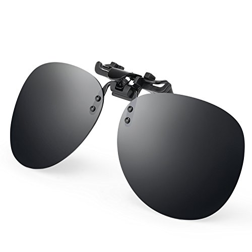 Costyle Black Grey Retro Polarized Clip on Flip up Plastic Sunglasses Driving Fishing - Snap Sunglasses On