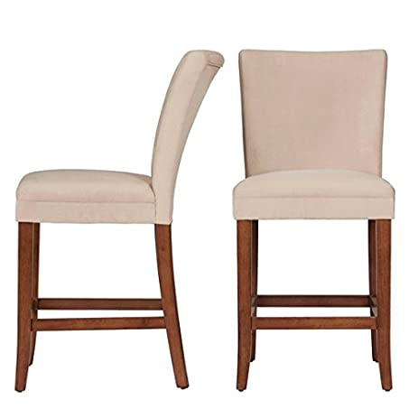 Etonnant Parson Classic Upholstered Counter Height High Back Chairs Set Of 2, Light  Brown Microfiber