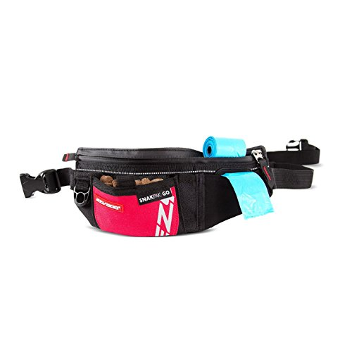 EzyDog SnakPak Go Wearable Dog Treat Bag - Easily Secures Around Waist and is Perfect for Running or Walking - Training Pouch Includes a Bag Storage/Dispenser for Clean-up (Red)
