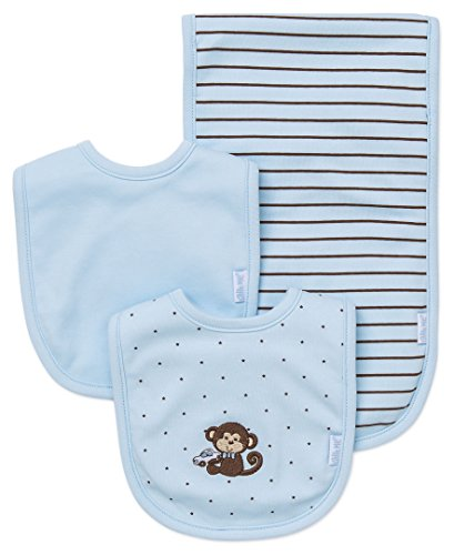 Little Me Baby Boy Newborn Bib and Burp set,  Light Blue,  One Size