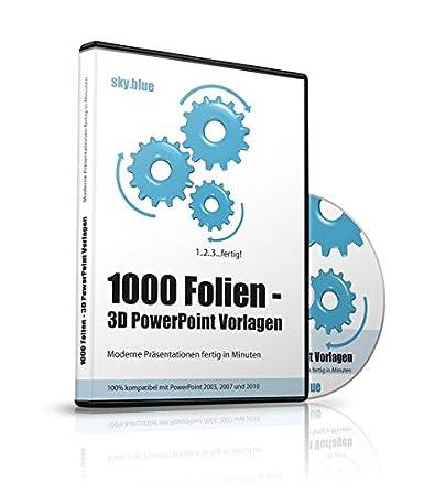 1000 Folien 3d Powerpoint Vorlagen Farbe Skyblue 2017